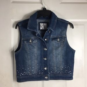 Justice blue jean button up vest with gems
